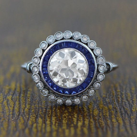 1.55Ct Round Cut /& Sapphire Halo Engagement Art Deco Ring 925 Sterling Silver