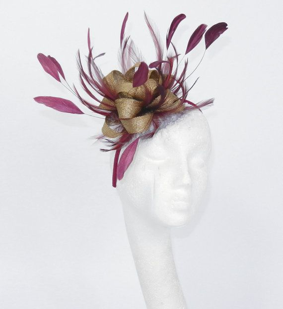 Plum & Gold Twinkette Fascinator Hat for by Hatsbycressida on Etsy                                                                                                                                                                                 More