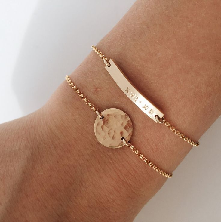 The mini bar comes with up to 6 characters stamped. Do you initials (A + L), a special date, or even roman numerals. A sweet dainty bracelet for everyday wear. +INSTRUCTIONS & ORDERING Have questions