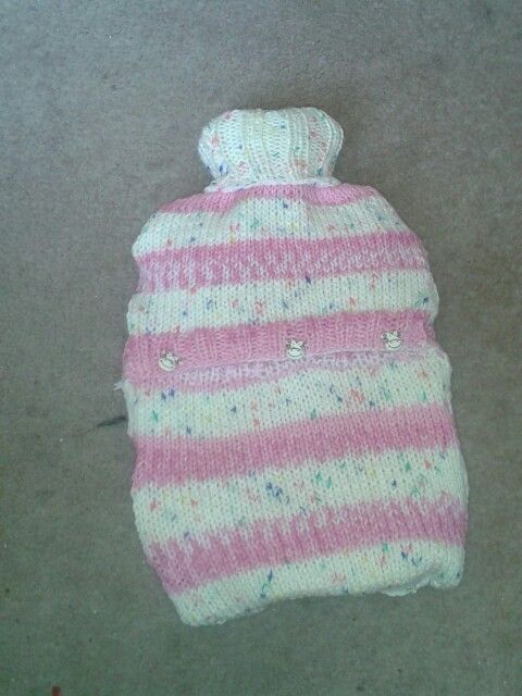 Hot water bottle cover. Original pattern from ravelry
