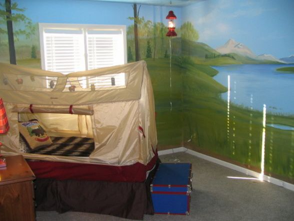 Boys Camping Room Decor   Don't have the time to take your kid camping???, I did this room for ...