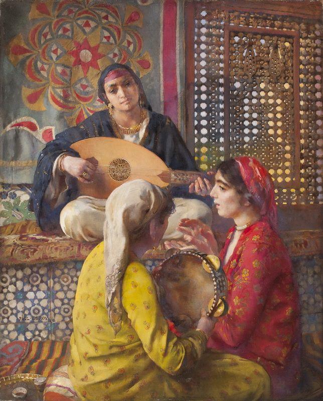 """Paul LEROY (1860-1942) """"Les musiciennes, Egypte""""  Huile sur toile signée en bas à gauche. 81 x 65 cm"""