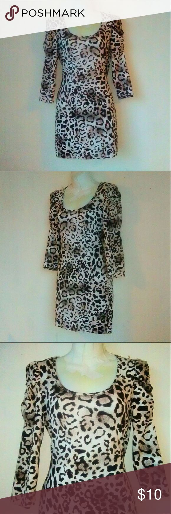 Forever 21 Animal Print Mini Dress Body con mini dress with brown tan and cream print. Material is 96%cotton 4%elastane. Excellent like new condition. B2 Forever 21 Dresses Mini