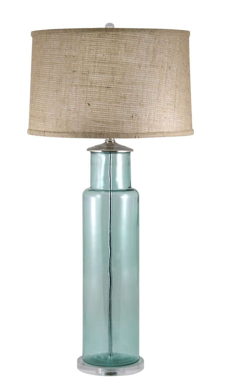 Recycled glass table lamp with burlap shade.
