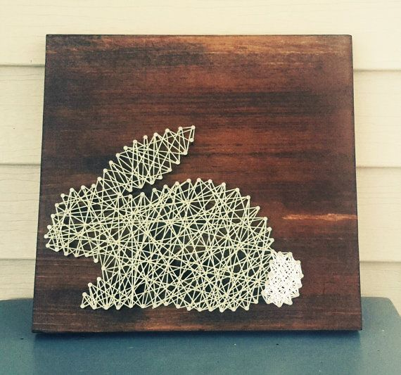 Easter Bunny String Art Wood Sign Spring Decor by CarolinaStrings