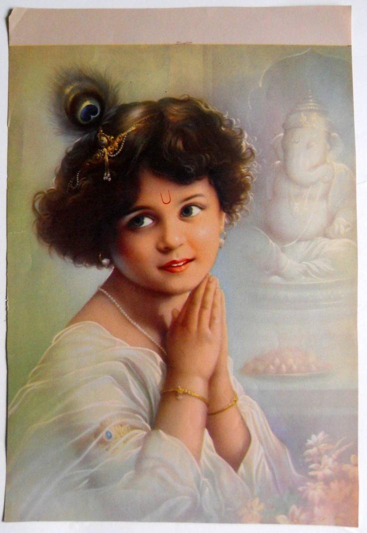India Vintage Calendar Print Hindu God Krishna