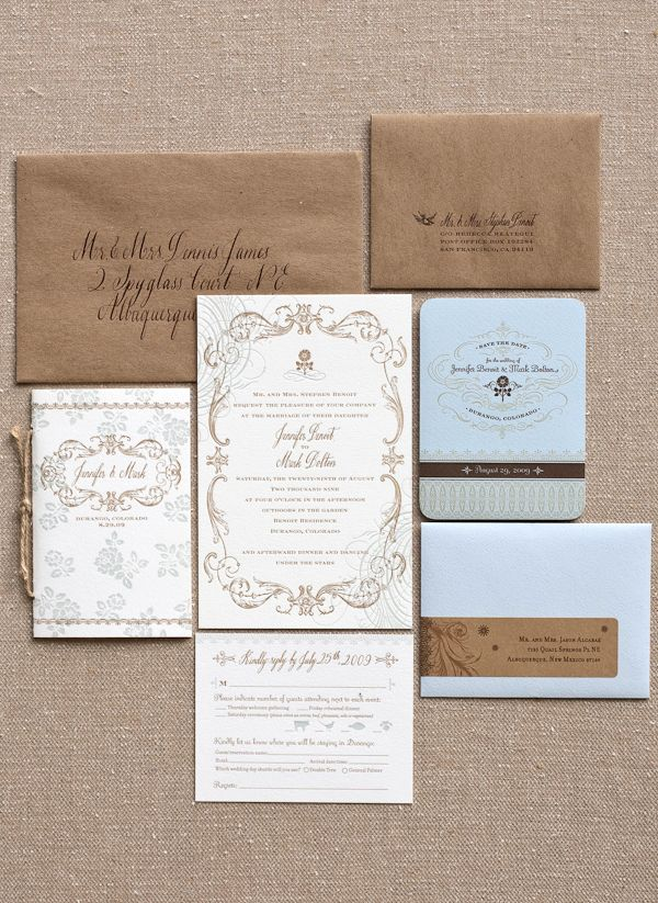 Blue and Brown. (Photography: Lisa Lefkowitz, Stationery: Janel Claire Designs)