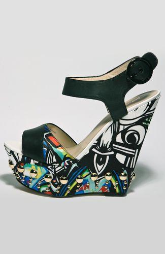 Just Cavalli platform Multicolored platform with golden studs, 15 cm heel. 100%POLYESTER Code: S13WP0057N36787
