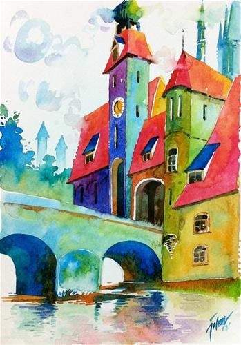 """No. 233 • Regensburg, Germany"" - Original Fine Art for Sale - © Tilen Ti"