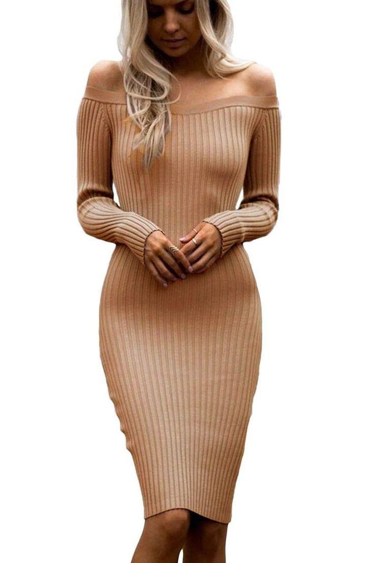 Apricot Off Shoulder Long Sleeve Bodycon Rib Knit Sweater Dress https://www.modeshe.com