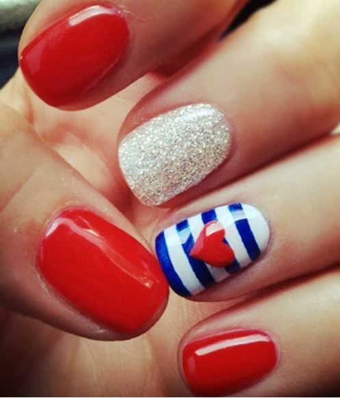 red, white, blue, maritime, nails, heart, glitter, nail art
