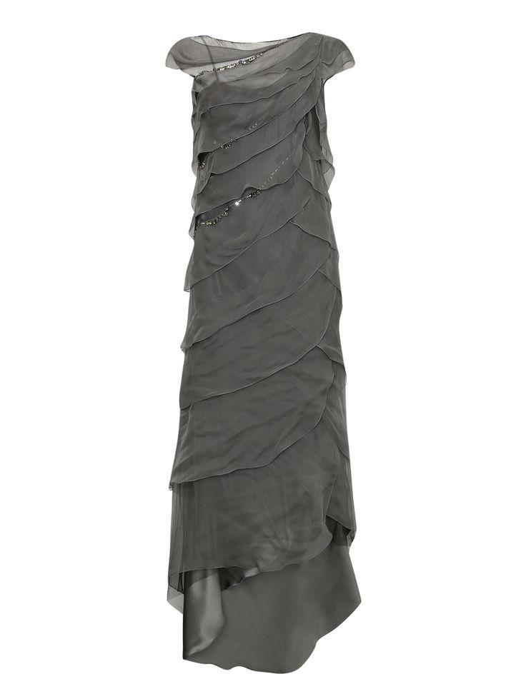 Купить со скидкой Alberta Ferretti серое платье-макси из шелка ассиметричное с камнями (76838) – распродажа в Боско Аутлет