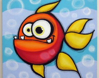 4FiSHEs set of 4 12x12 original paintings on by art4barewalls