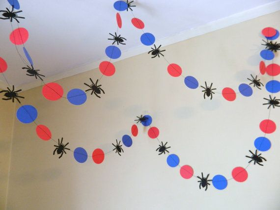 Super easy DIY Spiderman Garland for a nursery/toddler room or birthday party. MUST make these myself although super cute here on ETSY.