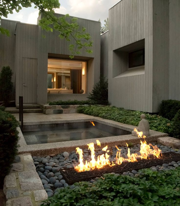 fire pit & pool, small garden landscaping