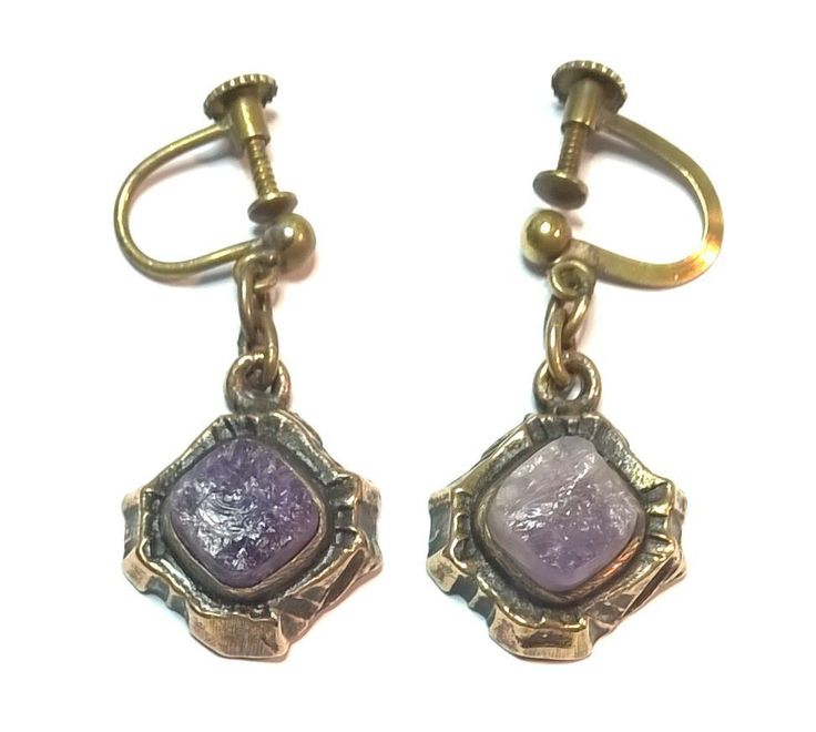 Pentti Sarpaneva Finland - Beautiful Vintage Bronze Earrings w Amethyst - Signed | eBay