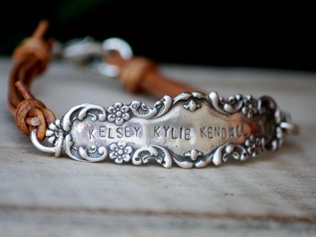 .silver flatware repurposed onto leather bracelet. perfect combo!!!!