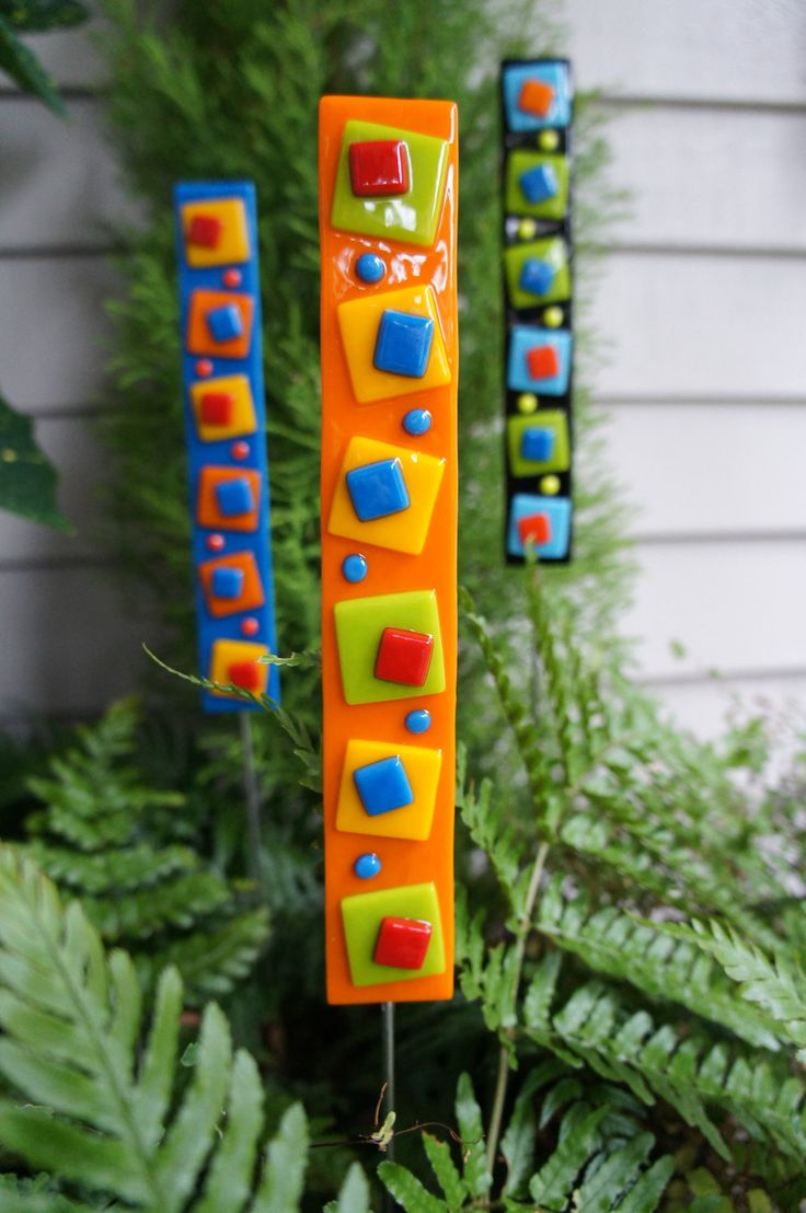 Outdoor Decor - Garden Art - Home Decor - Garden Stake - Orange Green Yellow Red Blue. $18.00, via Etsy.