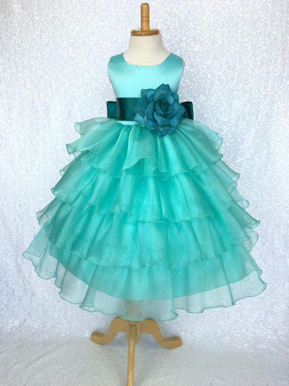 Organza Ruffle Dress w/ Teal Satin Sash Flower Girl Gown