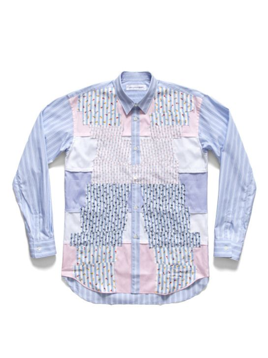 Comme des Garcons Stripe and Floral Patchwork Shirt