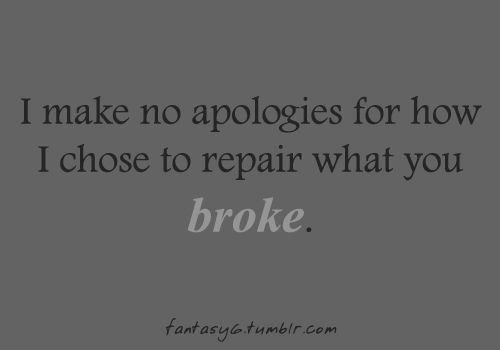 i make no apologies for how i chose to repair what you broke