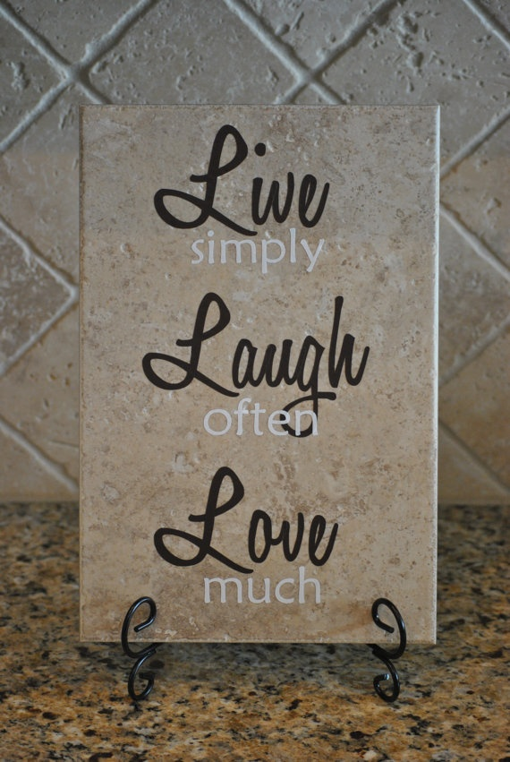 Live Laugh Love Decorative Tile by cupcakesnjellybeans on Etsy, $25.00