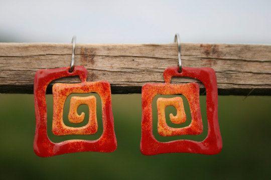 Aztec Square Spiral Earrings Enameled Metal by CinkyLinky on Etsy