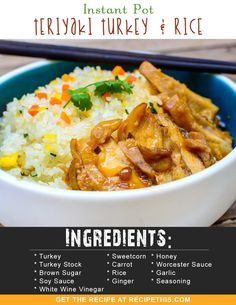 Instant Pot Recipes | Instant Pot Teriyaki Turkey & Rice from recipethis.com