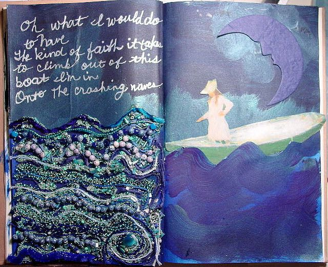Altered book page - Layered decoupage and beads, quote in metallic marker.