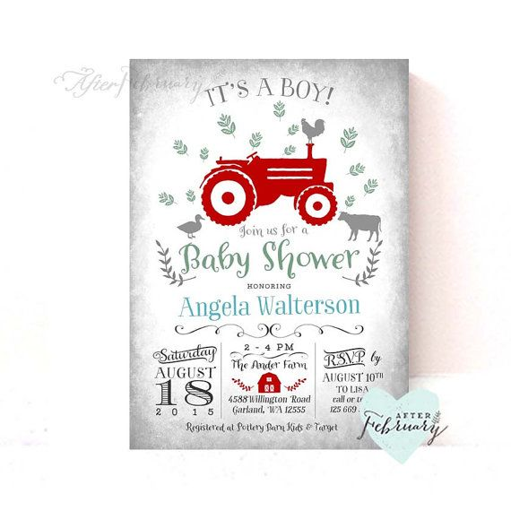 Hey, I found this really awesome Etsy listing at https://www.etsy.com/listing/213075746/tractor-baby-shower-invitation-any