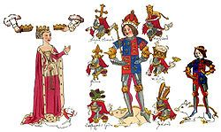 Depiction of King Richard III the College of Arms' founder, his wife Queen Anne Neville and their son Prince Edward, Prince of Wales with their heraldic crests and badges from the Rous Roll. A roll of arms painted by John Rous around 1483–1485 for the Earl of Warwick.