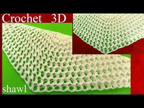 Chal  chalina a Crochet en punto 3D panal o nido de abeja tejido tallermanualperu - YouTube