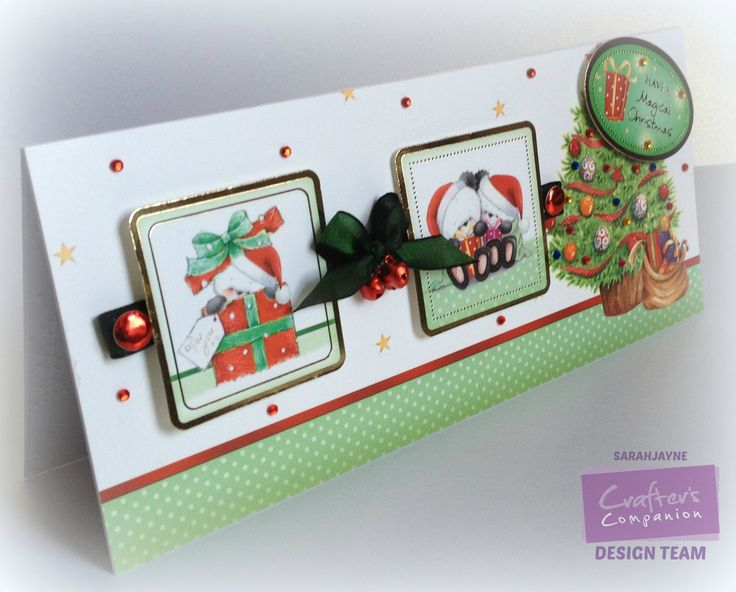 Crafter's Companion; Party Paws Hunkydory Christmas kit. DL card with acetate insert. Collall 3d Gel, ribbon, bells, gems & card candy