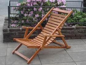 Reposera - Perezosa de madera con flejes de madera - plegable