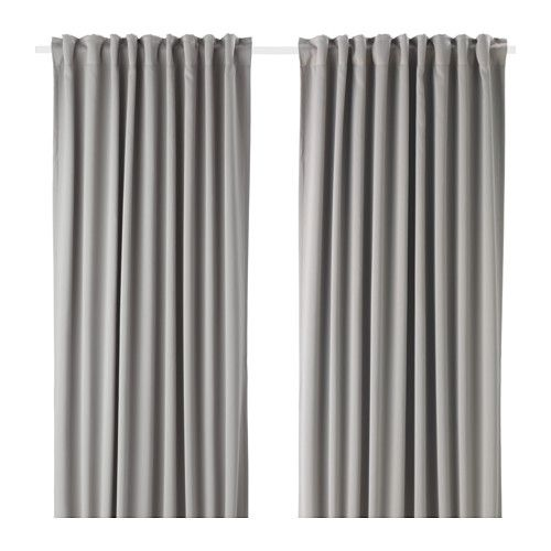 IKEA MAJGULL Block Out Curtains, 1 Pair Grey 145x250 Cm The Blackout  Curtains Have