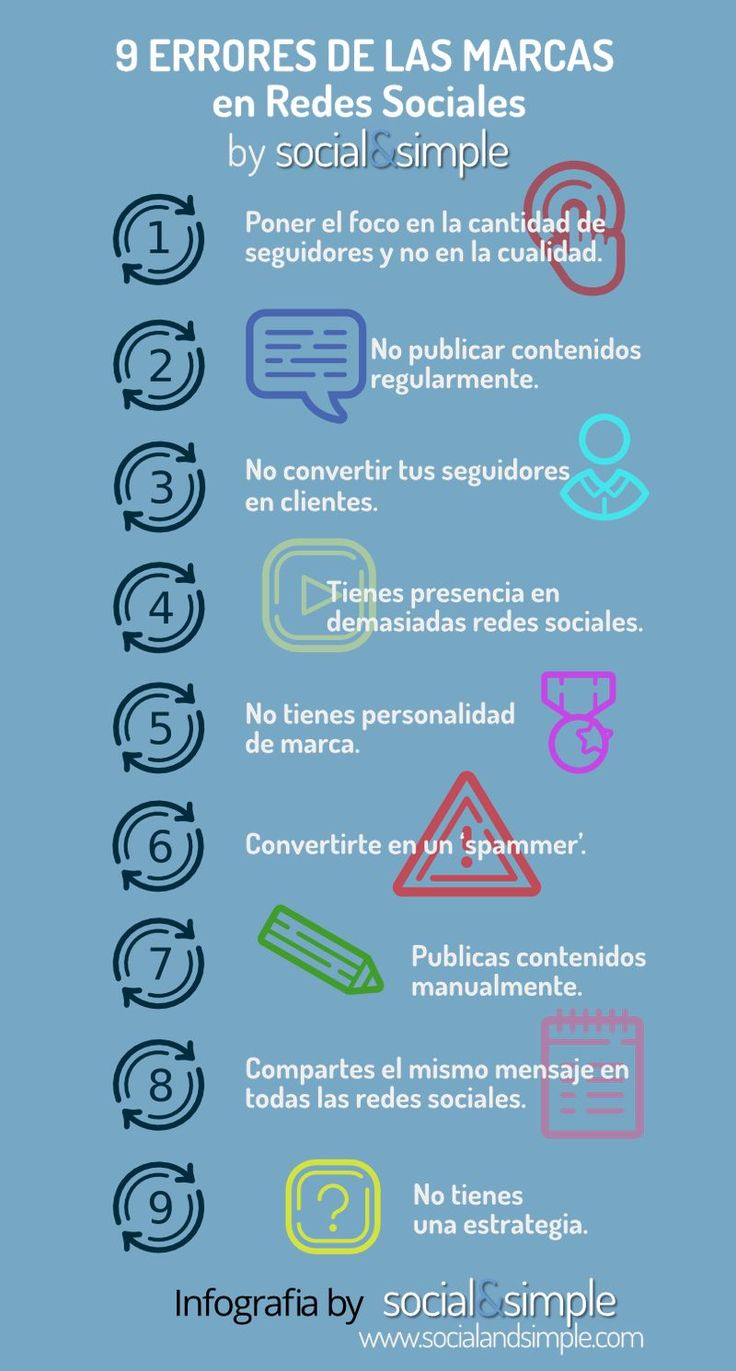 Una infografía en castellano que nos ofrece un listado con los nueve errores más comunes que cometen las marcas en las redes sociales.