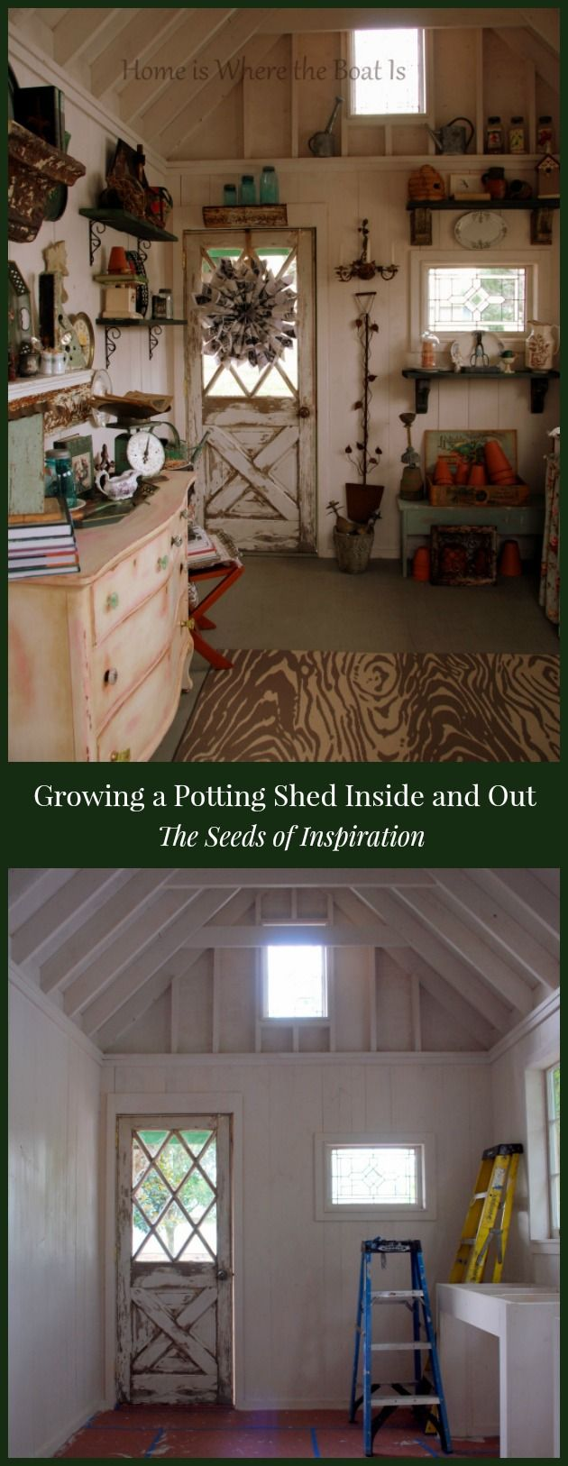 Growing a Potting Shed from the ground up with seeds of inspiration from Country Gardens magazine. A blend of new and salvage and materials, galvanized sheet metal counters and windows dressed with landscaping burlap. Lots of DIY inspiration and projects!  #gardening #pottingshed