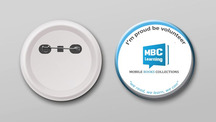 """Design Pin Button Mockup """"MBC Learning - Mobile Books Collection"""""""
