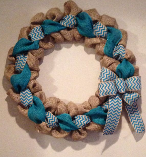 Teal Chevron Burlap Wreath 24 inch for front by SimplyBlessedGift, $40.00