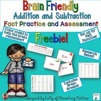 Addition and Subtraction Fact Fluency Freebie-Math, Basic Operations, Math Test Prep 1st, 2nd, 3rd, Homeschool Assessment, Flash Cards, Games Common Core Standards 1.OA.C.5, 1.OA.C.6, 2.OA.B.2..When learning addition and subtraction facts, it's not in the child's best interest to be given all 200 facts at once. This free set of 34 fact cards is the first in a series of 8 research based addition and subtraction practice sets to build fact fluency. This set practices the +1 fact families.