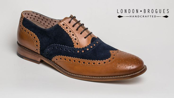 London Brogue GATSBY Mens Leather Two Tone Lace-up Wingtip Formal Tan/Navy Shoe