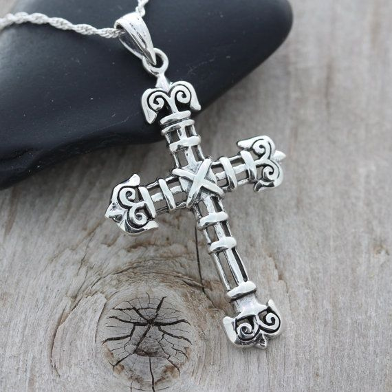 28 best cross necklace images on pinterest cross necklaces men cross necklace sterling silver mens cross pendant large flat silver clasic cross for mens choose italian chain mens jewelry 5102 aloadofball Images