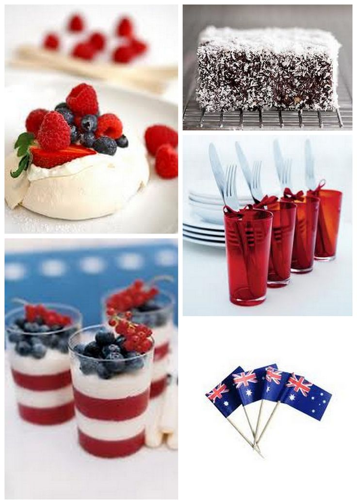 Blueberries, raspberries and strawberries work together to create an Australia day dessert theme. #australia  #australiaday