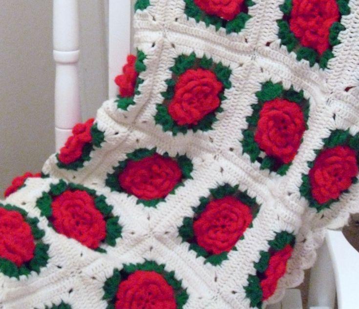 ... Crochet Afghans Crochet, Crochet Rose Pattern, Crochet Afghan Patterns
