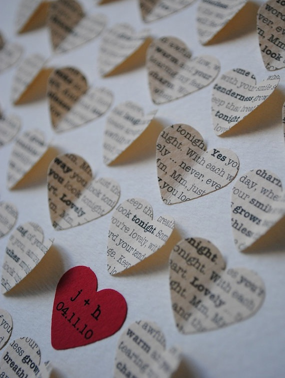 Framed cut out hearts with your song lyrics. So cute