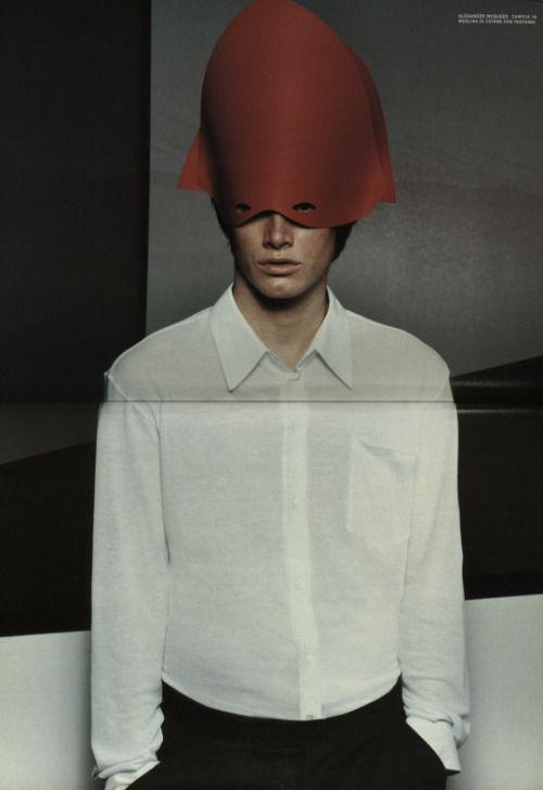 Hat Mask Red white men