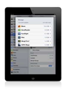 How to free up storage space on your iPad - a good tip for pilots. http://ipadpilotnews.com/2013/07/ipad-memory-management-how-to-free-up-storage-space-2/