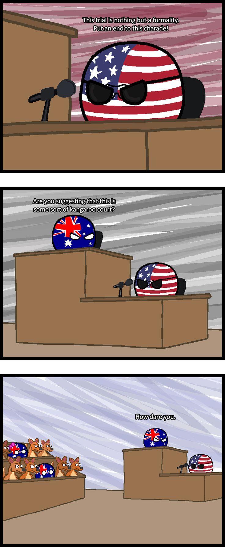 "Kangaroo Court ""12 Angry Mates"" (Australia, USA) by Baron koleye of kolaje  #polandball #countryball"