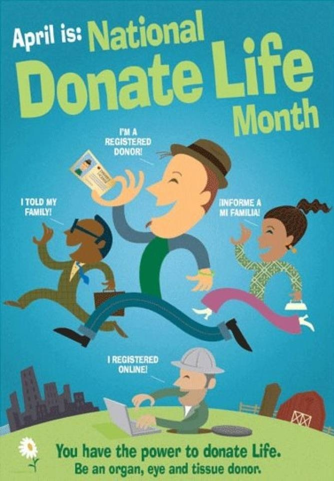April is National Donate Life Month. You have the power to donate life. Register today!