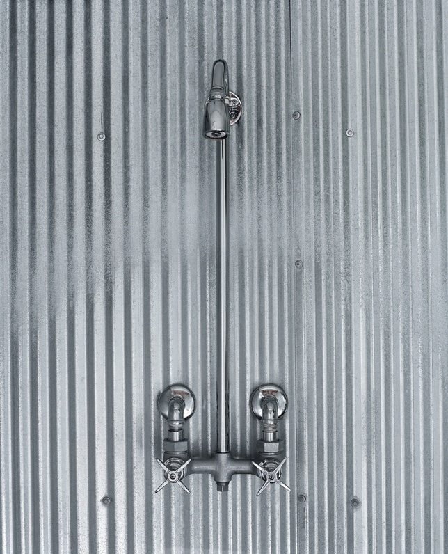 Farm fresh showers sheet metal and steel for Corrugated iron bathroom ideas